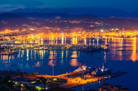La Spezia at NIght. Gulf of La Spezia in the Liguria Region of Northern Italy