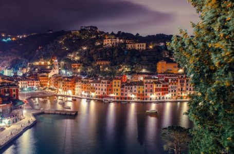 Portofino Italian Riviera at Night. Portofino Fishing Village in Italy.